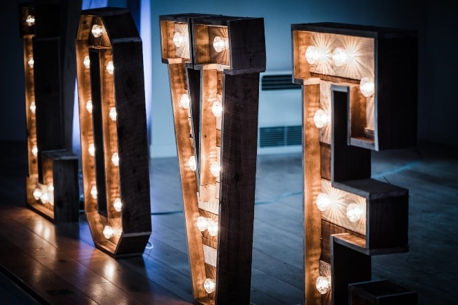 Light Up Letters LOVE Pendrell Hall Wedding Venue